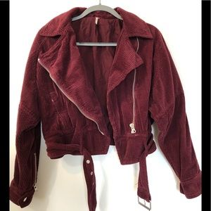 Free People Biker Jacket Burgundy Corduroy Size XS